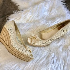 Tory Burch Jackie Cream Lace Espadrille Wedge